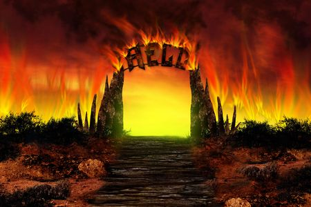 doomsday: Life after Death. The HELL on fire Stock Photo