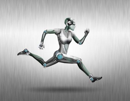 robot woman: Illustration of a robot woman that runs along the metal wall