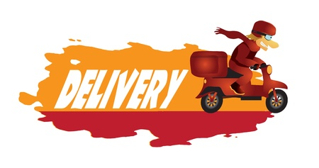 fast delivery: Delivery boy on a scooter in a hurry to deliver pizza