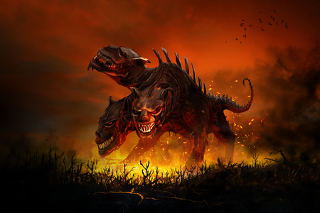 Scary Cerberus guards the entrance to hell Stock Photo