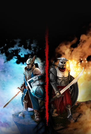 fantasy background: Confrontation between the two knights fantasy. Against the background of ice and fire Stock Photo
