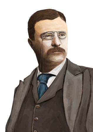 純粋な白の背景にセオドア ・ ルーズベルトの肖像