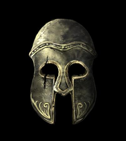 Cracked Ancient Spartan Helm auf einem schwarzen Hintergrund Standard-Bild - 74436045