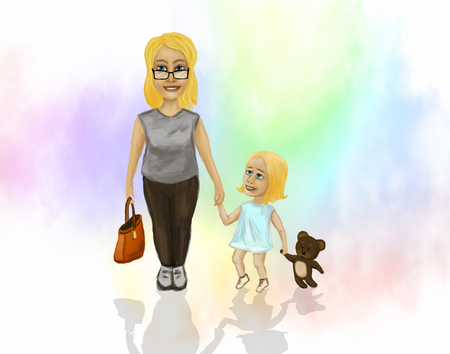 nurseries: Mama with a small daughter, who is holding the hand of a teddy bear.