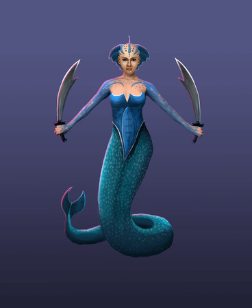 daemon: A beautiful hydra girl, a sea goddess in a fighting stance Stock Photo