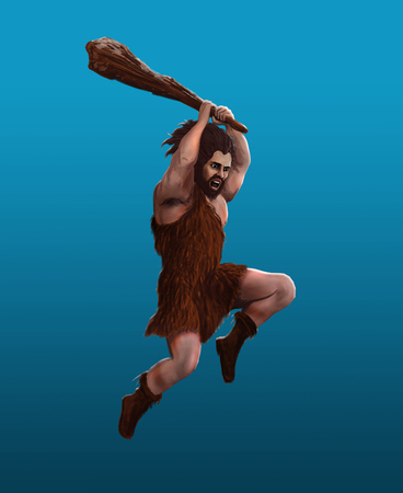 Prehistoric man strikes with a club in a jump