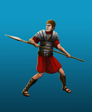 ancient roman: Ancient Roman spearman in armor reflects the attack