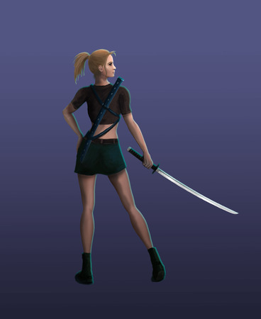 The Samurai girl stands in a menacing stance Stock Photo