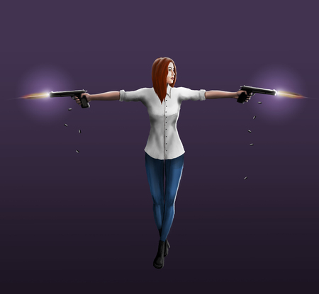 girl shirt: A girl in a white shirt shoots out two pistols