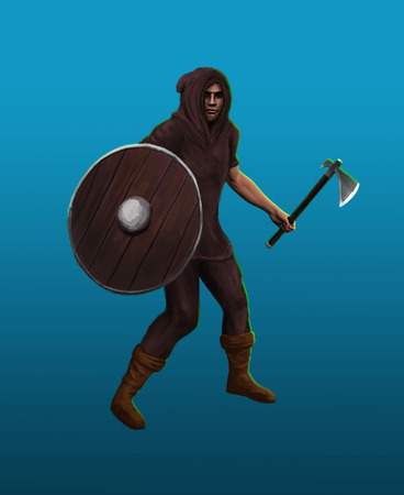 A severe barbarian viking in the fighting stance Stock Photo