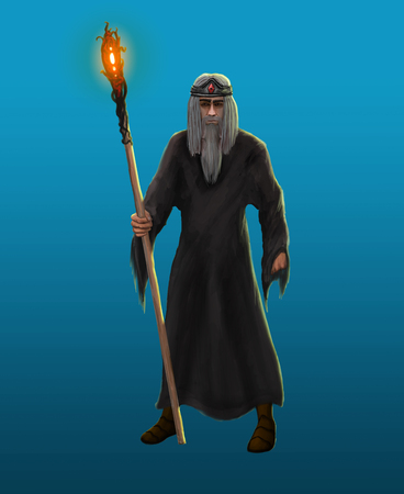 superstitious: An old gray-haired sorcerer with a beard and a staff Stock Photo
