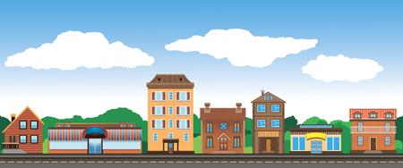 青空の背景の通りの美しい街  イラスト・ベクター素材