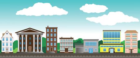 Street beautiful city on a background of blue sky Illustration
