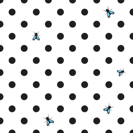 DOT BACKGROUND WITH HOUSE-FLY Vector
