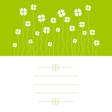 copyspace: Vector illustration of cloverleafs, card with copy-space