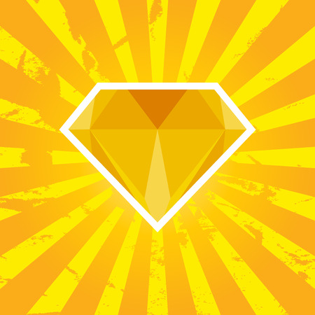 Vector illustration of diamond with orange background Vector