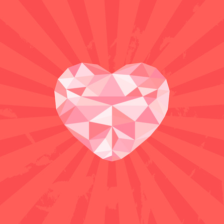 other keywords: Abstract geometric heart, vector illustration
