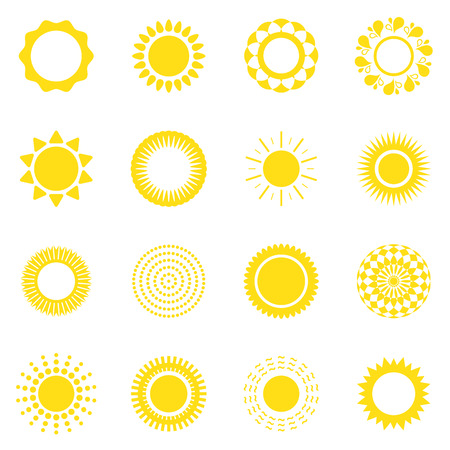 Set of suns, vector illustration