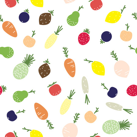 vegetable cartoon: Fruits and vegetables seamless pattern