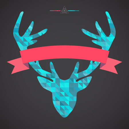 stag horn: Deer head with ribbon