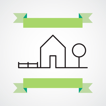 House icon with ribbon Vector