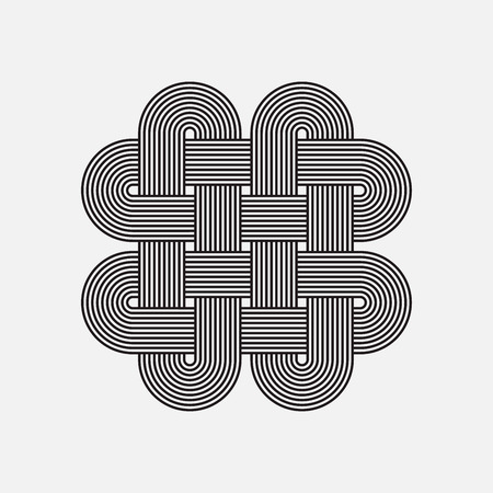 Twisted lines, vector element, intertwined pattern, isolated object