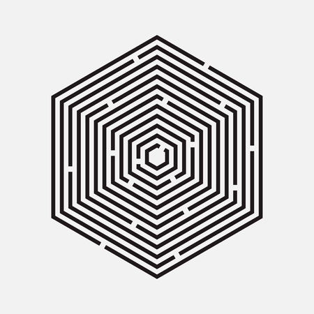 Maze, hexagon, vector illustration Illustration