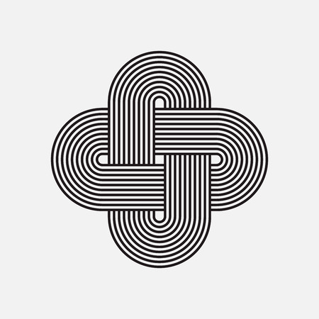trinity: Twisted lines, vector element, intertwined pattern, isolated object
