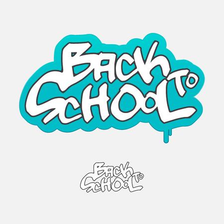 Back to school, graffiti sign, vector illustration Vector