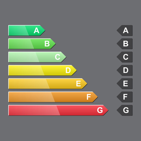 energy ranking: Energy efficiency rating, glossy design, vector illustration
