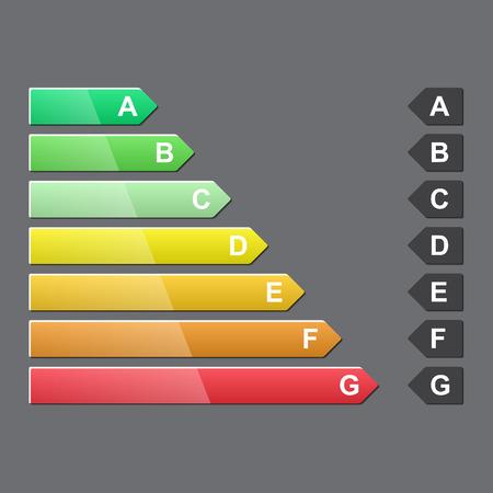 energy ranking: Energy efficiency rating, glossy design, vector illustration