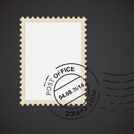 stamp design: Post mark with stamp for your design, vector illustration Illustration
