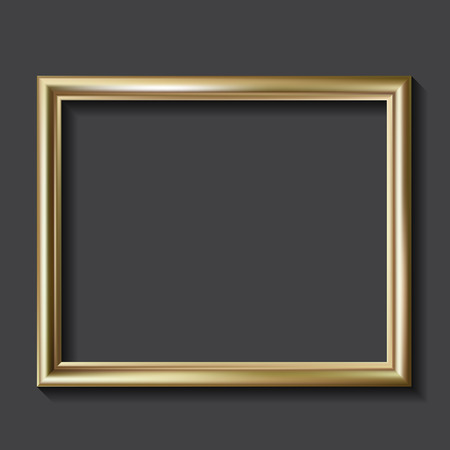 Simple golden picture frame, vector illustration Vector