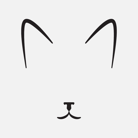 Simple cat face, silhouette, vector illustration
