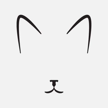 face silhouette: Simple cat face, silhouette, vector illustration