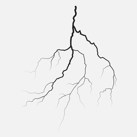 Geïsoleerde donder verlichting, silhouet, vector illustratie