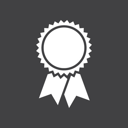blue ribbon: Badge with ribbons icon, vector illustration, simple flat design
