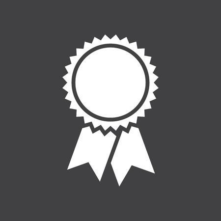 Znaczek z wstążkami ikony, ilustracji wektorowych, prosta płaska