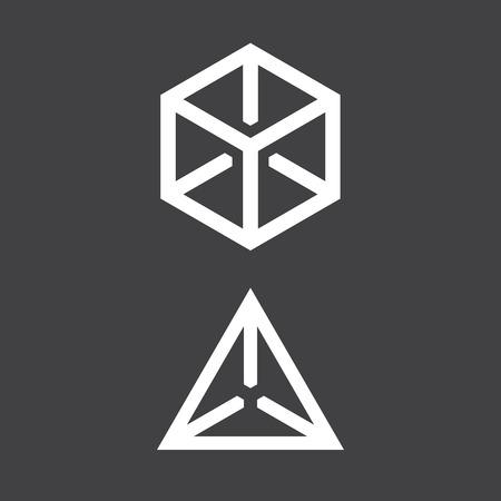 tetrahedron: Cube and tetrahedron, geometric symbol, simple flat design