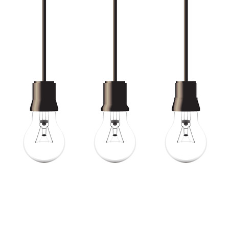 lamp power: Hanging light bulbs isolated on white background, vector illustration Illustration