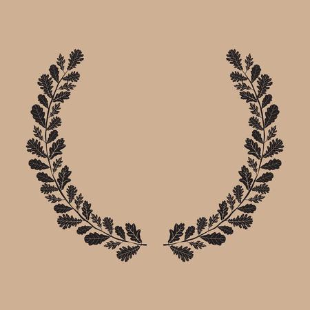 Silhouette of laurel wreath, oak leaf, vector illustration Vector