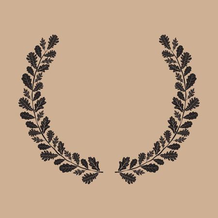 laurel leaf: Silhouette of laurel wreath, oak leaf, vector illustration