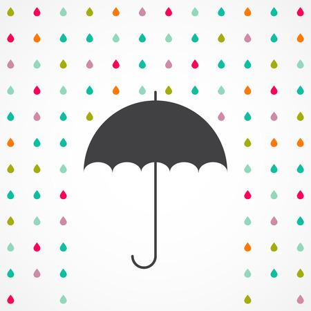 umbrella rain: Vector umbrella and rain drops - abstract weather concept Illustration