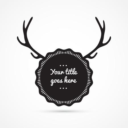 deer antlers: Label with antlers, vintage design Illustration