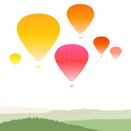hot air: Hot air balloons over green landscape
