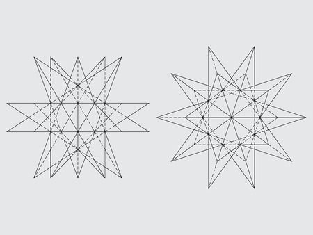 the polyhedron: Polyhedron drawing, vector illustration