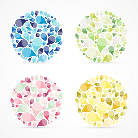 Drop elements, set of four circles, swirl design, vector illustration