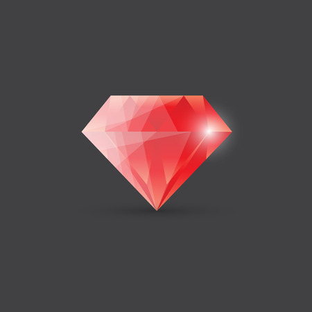 ruby: Red diamond, gemstone illustration