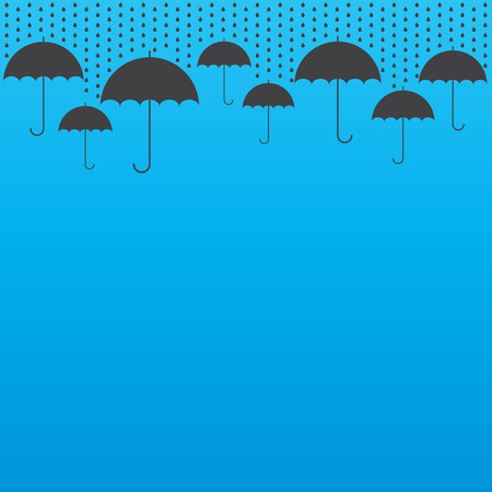 weatherproof: Rain drop background with umbrellas, vector illustration Illustration