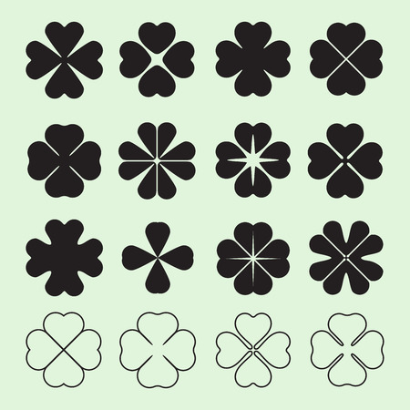 4 leaf: Four leaf clover symbol, set of simple shapes, vector illustration